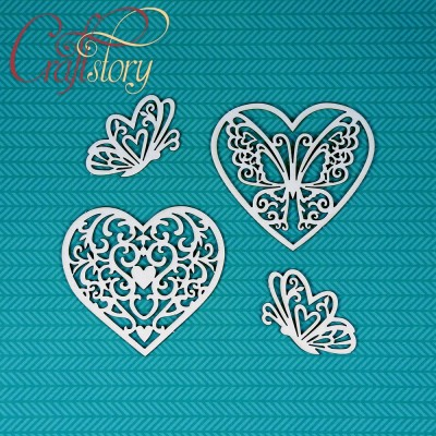 Chipbord Hearts with butterflies