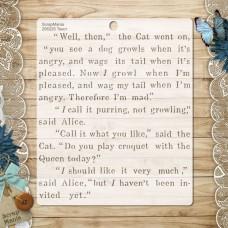 Stencil Alice in a fairy tale. Text